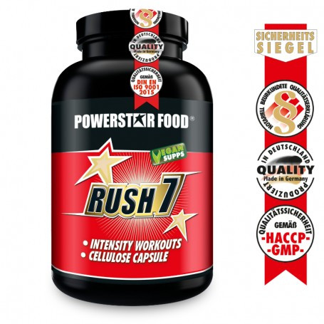 Powerstarfood RUSH 7 - Pre Workout Booster mit Creatin - 210 Kapseln