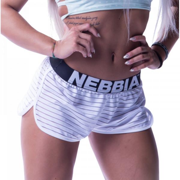 NEBBIA - Kurze Hose mit durchsichtigen Streife MODELL N651 WEISS