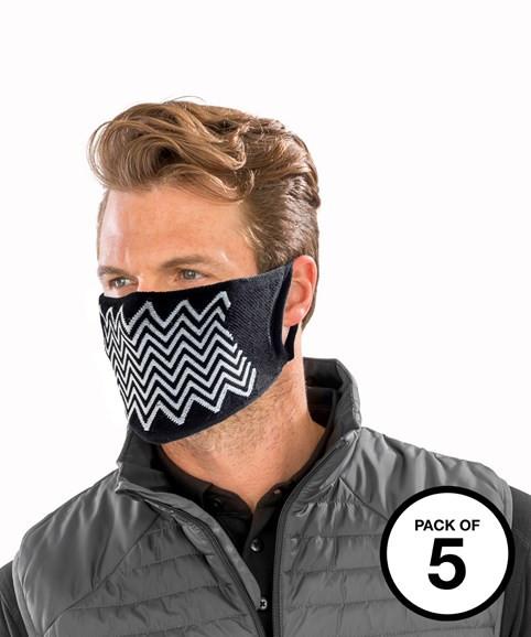 RESULT Gesichtsmaske Naturgarn antibakterielle Zickzack (Non-PPE) (5er Pack)