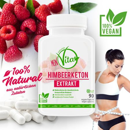 MeinVita Himbeerketon Extrakt - 1350 mg (Tagesportion), 90 Kapseln, 100% vegan