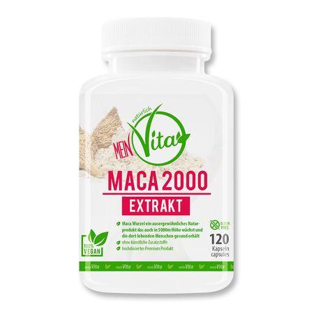 MeinVita Maca 2000 mg (Tagesportion) Extrakt, mit Zink, 120 Kapseln, 100% vegan